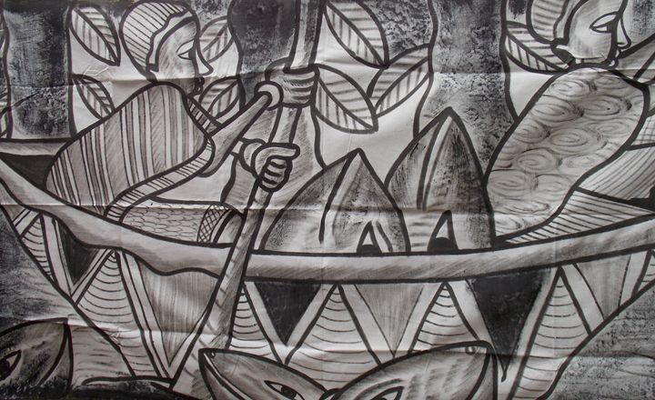 Black and white boatman on the sea - JoshuaArtBatikStudio