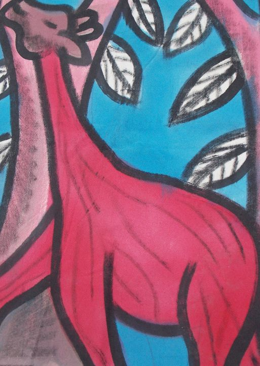Red animal in the bush eating leaf - JoshuaArtBatikStudio