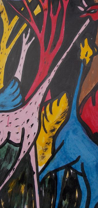 Giraffes painted in the bush tree - JoshuaArtBatikStudio