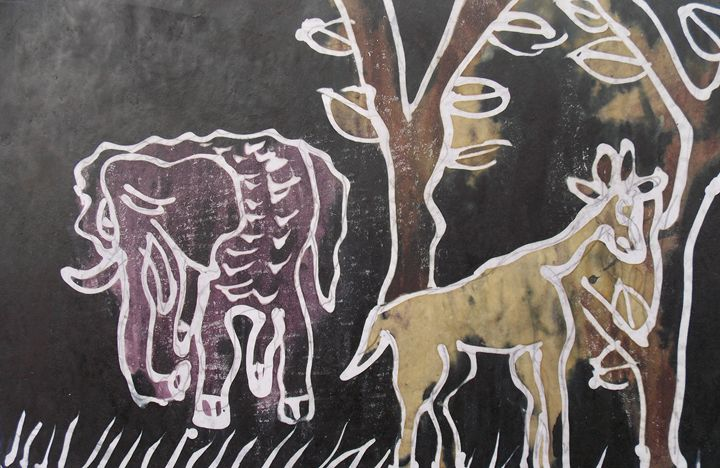Elephant and goat in the bush - JoshuaArtBatikStudio