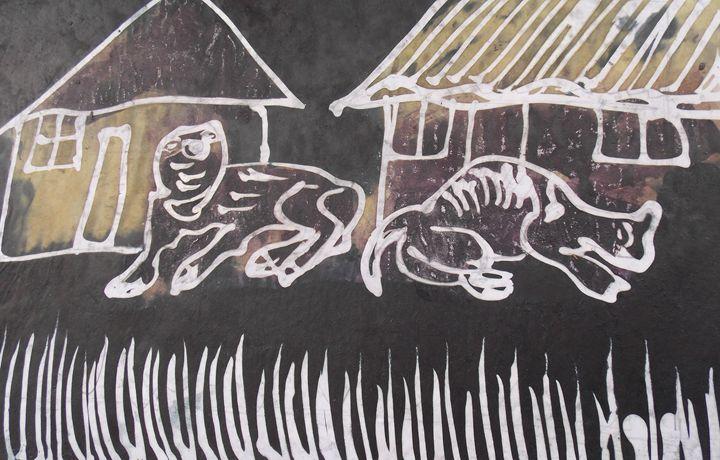 Animal and cart in front of house - JoshuaArtBatikStudio