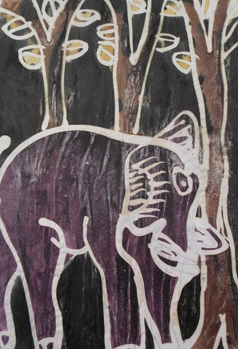 Purple elephant beside the tree - JoshuaArtBatikStudio