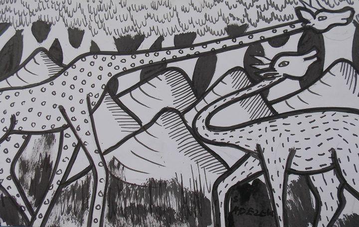 Long neck giraffes on the rock - JoshuaArtBatikStudio