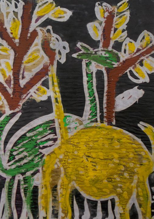 Giraffes eating yellow leaf in bush - JoshuaArtBatikStudio