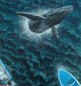 Humpback Breaching with Fishermen