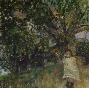 A girl near the tree