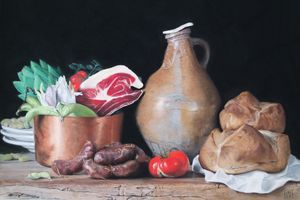 Still life with ham and bread