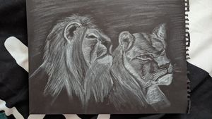 White charcoal lions