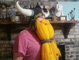 Crocheted helmet with beard