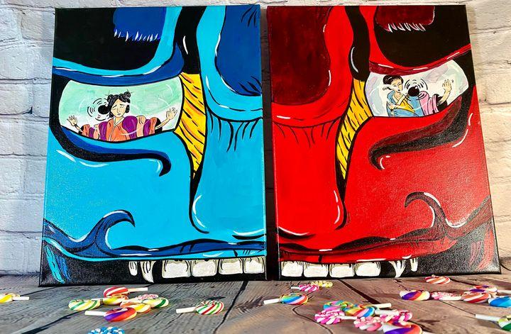 Blue and Red Japanese Oni Mask Set - StudioZilla Art