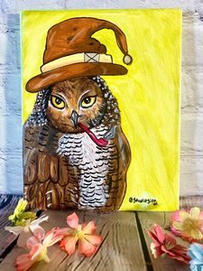 Whimsical Wizard Owl Painting