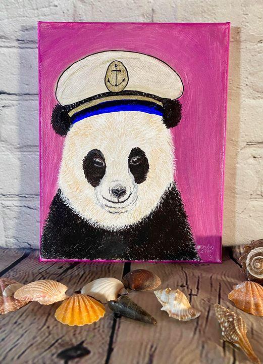 Panda Bear and Sailor Hat - StudioZilla Art