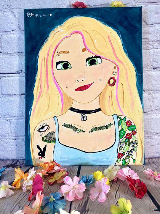 Tattooed Rapunzel Disney Princess - StudioZilla Art
