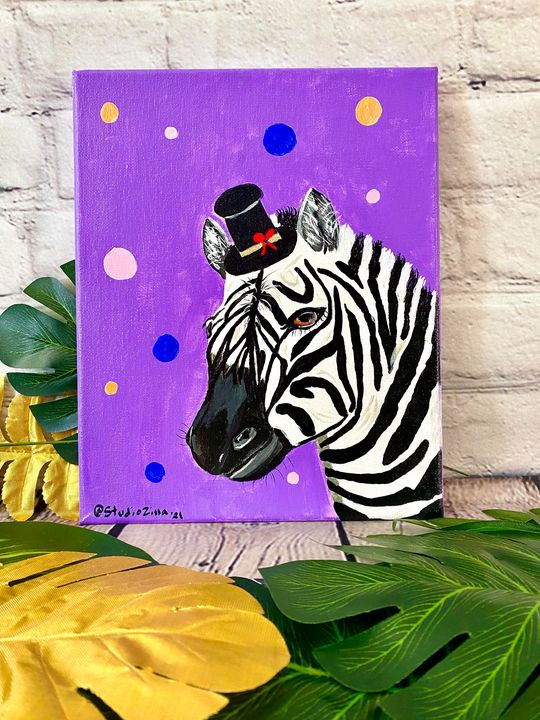 Dapper Zebra with a Top Hat - StudioZilla Art