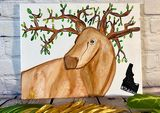 Moose with tree branch antlers art