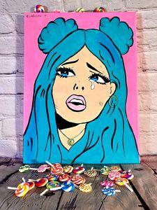 """Bubblegum Lady"" Pop Art Painting"