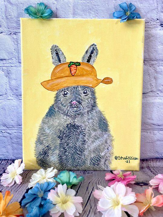 Acrylic canvas of bunny with hat - StudioZilla Art