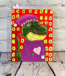 T-Rex with a sweater and hat - StudioZilla Art