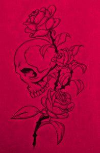 Skull and Roses Hott Pink