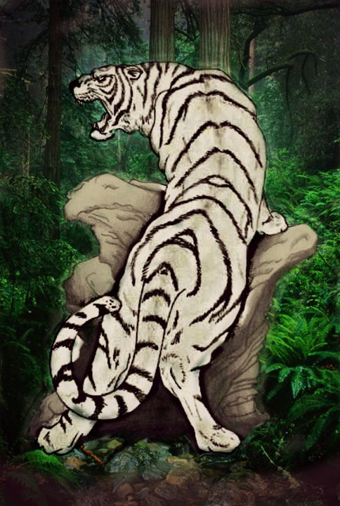 White Tiger in Jungle - Virgo Art