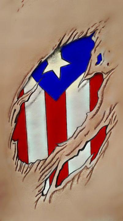 Rican Flag Under Skin - Virgo Art