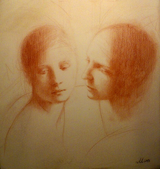 Conversation Original Drawing in red - Old Masters gallery