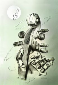 violin with mechanical hand