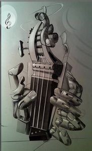 keyboard and hands with strings