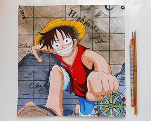 Luffy color drawing from One Piece a