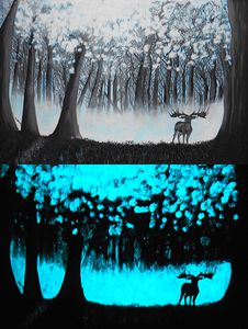 Glow in the dark Art Deer Forest