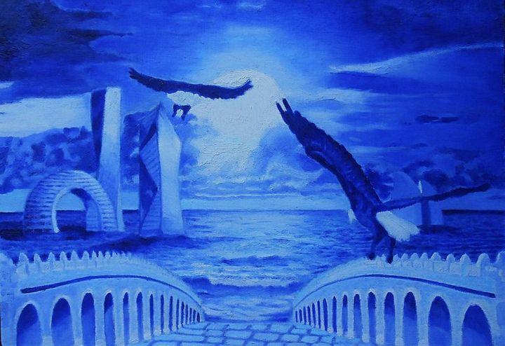 NIGHT SEA An original oil on canvas - My Art Dimension