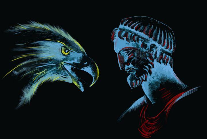 An eagle and a man - LevonArt