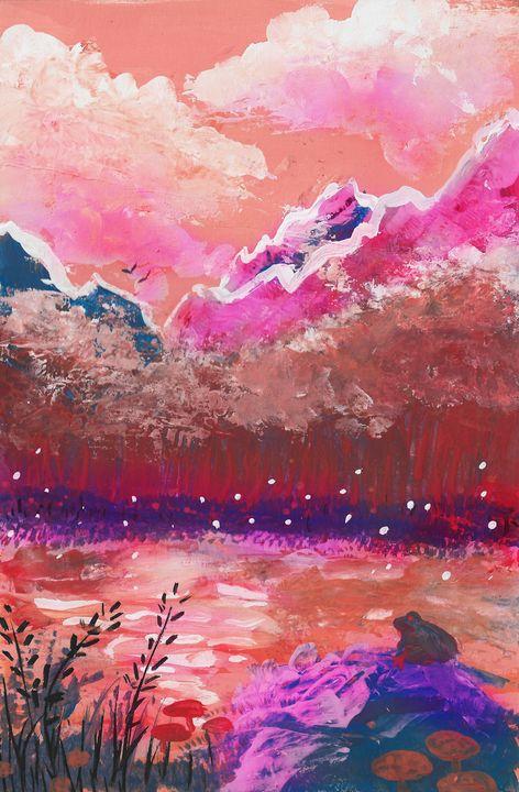 Sunset over Psilocybin Pond - Aquarius Arcanist