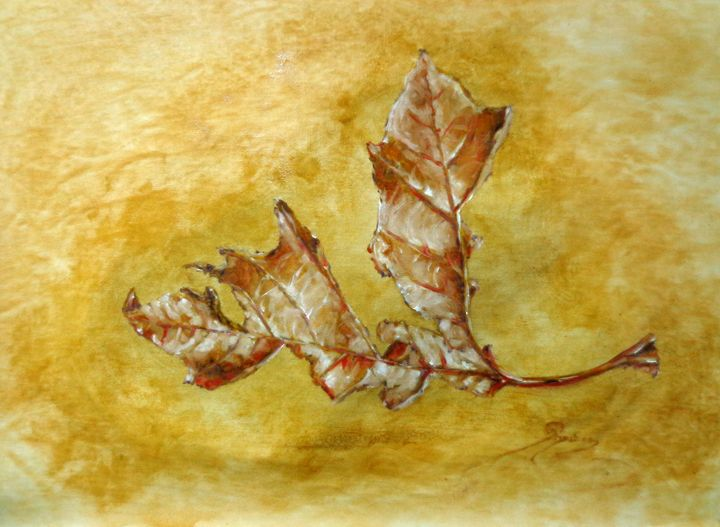 decaying plane tree leaf, oil, B3 - rogerioarte