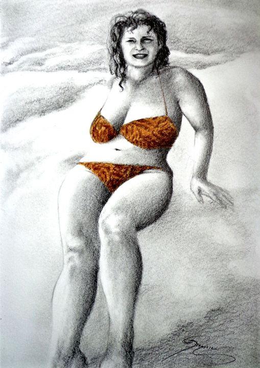 bikini portrait, graphite, A4 - rogerioarte