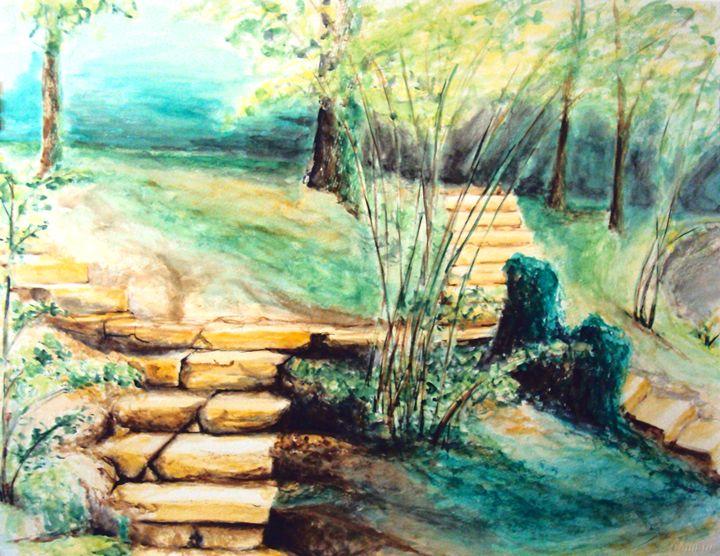 forest stairway, watercolor, A1 - rogerioarte