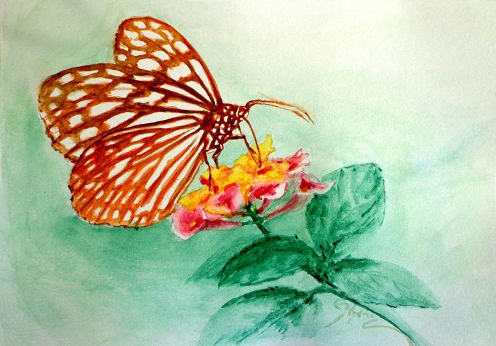 butterfly on flower, watercolor, A5 - rogerioarte