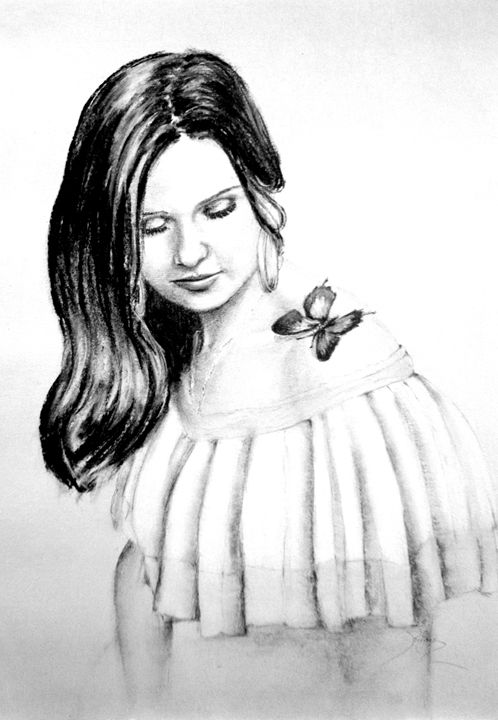 Megan with butterfly, charcoal, B4 - rogerioarte