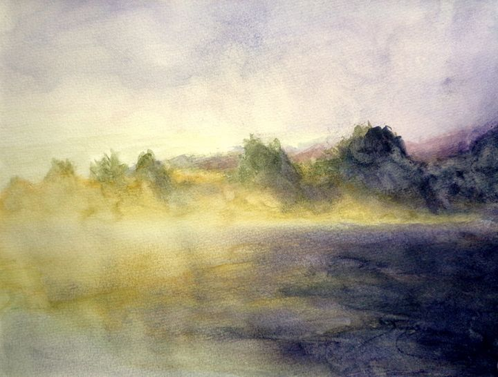 sun and fog, watercolor, A4 - rogerioarte
