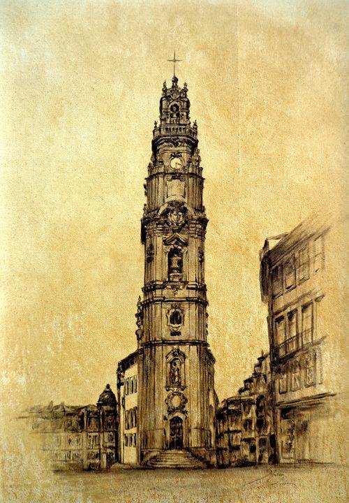 """torre dos clérigos"", oil, A3 - rogerioarte"