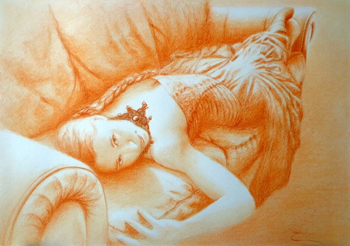 sanguine portrait, pastel, A3 - rogerioarte