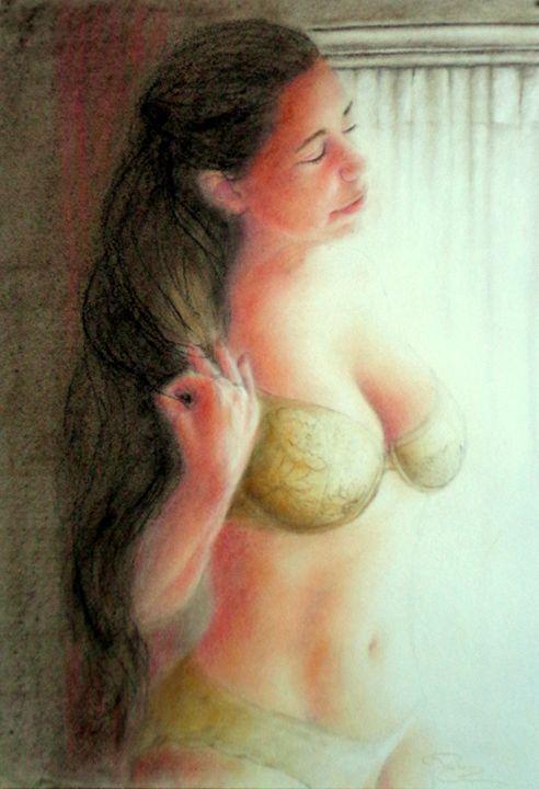 Heather at window, dry pastel, A3 - rogerioarte
