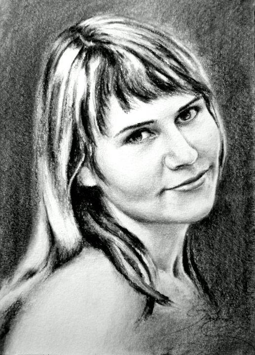 lady portrait, charcoal, A4 - rogerioarte