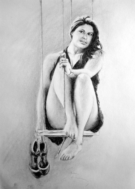 Nikki swing portrait, charcoal, B4 - rogerioarte