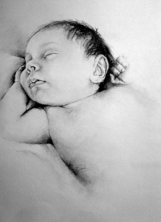 baby portrait, charcoal, B4 - rogerioarte
