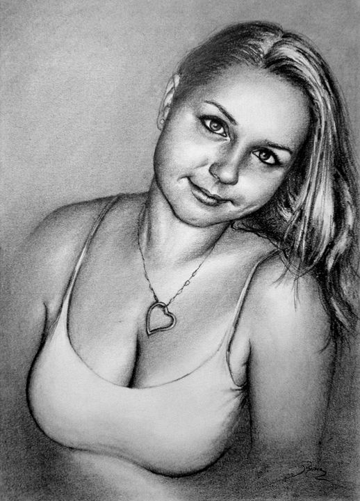 a girlfriend portrait, graphite, B4 - rogerioarte