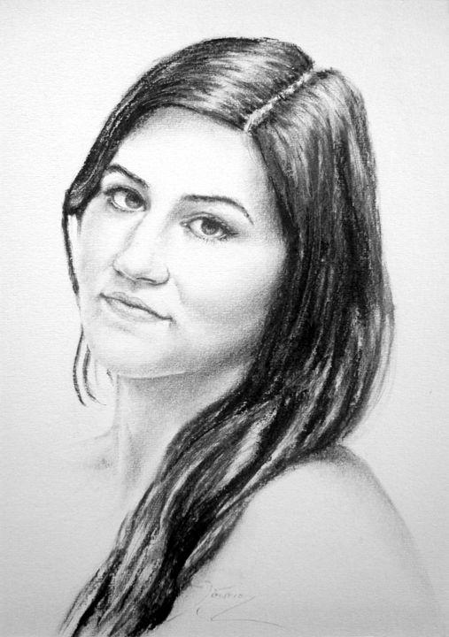 model portrait, charcoal, B4 - rogerioarte