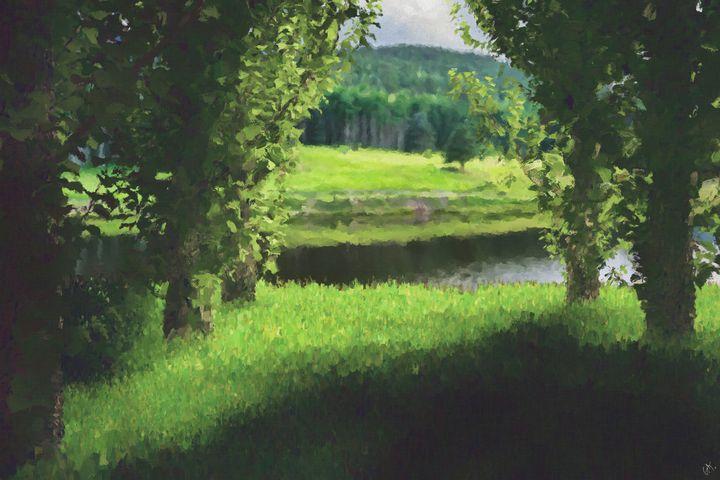 Near The Lake Digitally Handpainted - Hunart Pixels