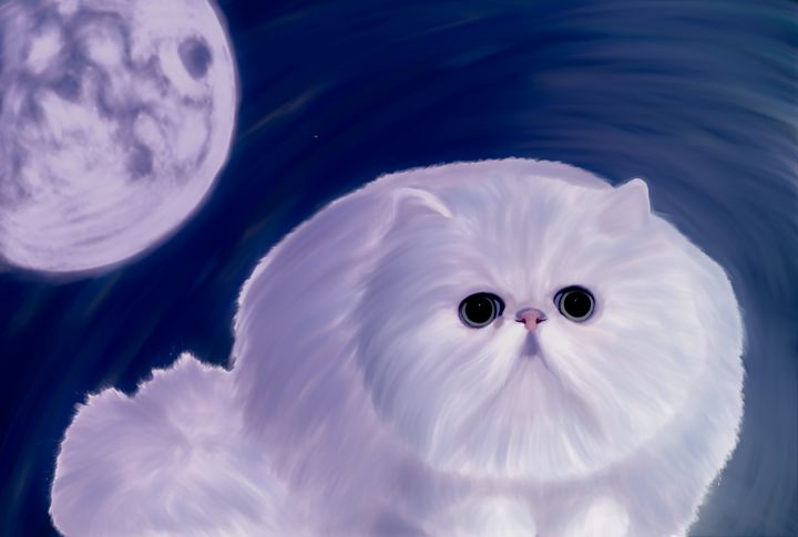 Cute Cat And The  Moon - Hunart Pixels