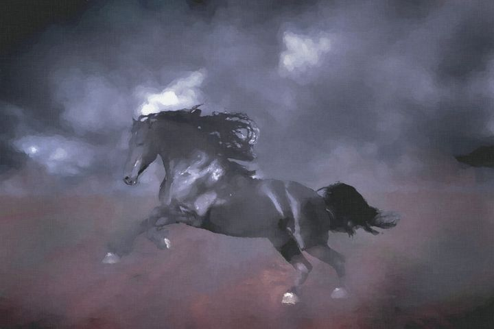 Mustang Freedom Digitally Handpaint - Hunart Pixels